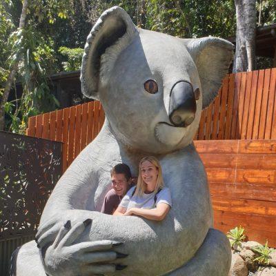 Koala sculpture Kozilla at Kuranda Koala Gardens